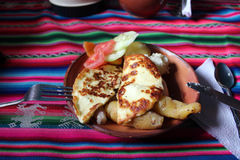 Peruansk frukost med ost Arkivfoto