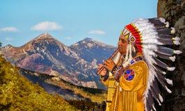 Peruansk indier i bergen Arkivfoto