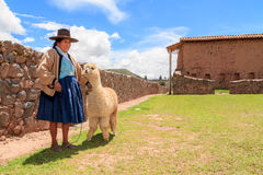 Peruansk indisk kvinna i traditionellt väva för klänning Arkivbilder