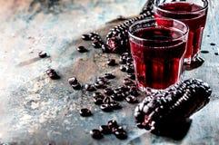 PERUANSK LILAHAVREDRINK Drink för havre för Chicha morada purpurfärgad söt traditionell peruansk arkivbild
