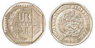 1 peruanska nuevosolenoid-mynt Arkivfoton