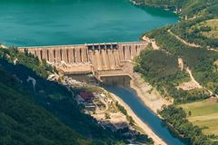 Dam Perucac on a Drina river. Hydroelectric. Perucac, Serbia july 30, 2017: Dam Perucac on a Drina river. Hydroelectric royalty free stock photography