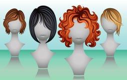 Perucas fêmeas do cabelo curto em cores naturais ilustração stock