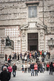 Perugia Cathedral with crowd of people. Italy Royalty Free Stock Photos
