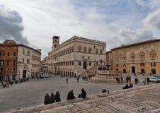 Perugia. Cuadrado principal Fotografía de archivo libre de regalías
