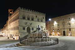 Perugia historical centre at night Royalty Free Stock Photos