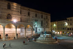 Perugia historical city centre at night Royalty Free Stock Photos
