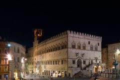 Perugia historical city centre at night Stock Images