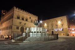 Perugia historical city centre at night , Italy Royalty Free Stock Photos