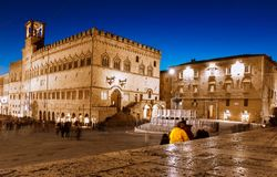 Perugia, Italië - 9 December 2017: De stad in Royalty-vrije Stock Afbeelding