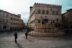 Perugia, Italië - 9 December 2017: De stad in Stock Foto's