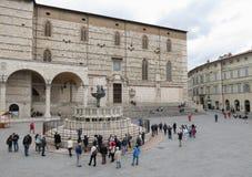 Piazza 4 Novembre square in Perugia stock images