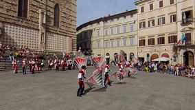 Perugia, Italy - June 16, 2019. flag-wavers in the main square stock footage