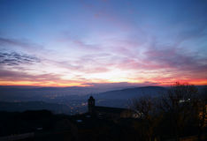 Perugia, Italy. Sunset from Giardini Carducci. Winter sunset from old town of Perugia stock photo