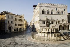 Perugia Main Square, Italy. Town Hall (Palazzo dei Priori) and Major Fountain (Fontana Maggiore) in the Main Square in Perugia, Italy Stock Photos
