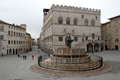 Perugia Main Square, umbria - Italy Royalty Free Stock Image
