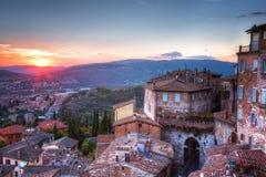 Perugia på solnedgången Fotografering för Bildbyråer