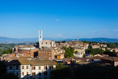 Perugia - a view of the old town and the Basilica di San Domenico stock photography