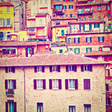 Perugia. View to Historic Center City of Perugia in Italy, Instagram Effect Royalty Free Stock Photo