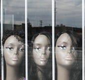 Perukskyltdockor i ett fönster Arkivbild
