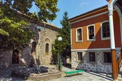 PERUSHTITSA, BULGARIEN - 4. SEPTEMBER 2016: Das Gebäude von Danov-Schule vom 19. Jahrhundert, Perushtitsa, Plowdiw-Region Lizenzfreie Stockfotografie