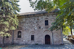 PERUSHTITSA, BULGARIEN - 4. SEPTEMBER 2016: Das Gebäude von Danov-Schule vom 19. Jahrhundert, Perushtitsa, Plowdiw-Region Lizenzfreies Stockbild