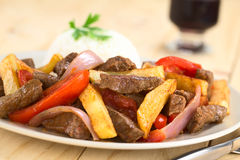 Peruvan Dish Called Lomo Saltado Stock Photos