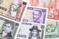 Peruviaans Geld, een achtergrond stock foto's