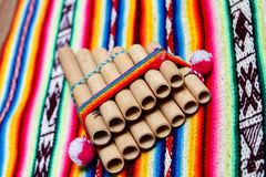 Peruviaanse panfluit Royalty-vrije Stock Foto's