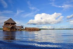 Peruvian Amazon River. A house boat on the Amazon river in Peru Royalty Free Stock Photos