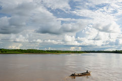 Peruvian Amazonas, Amazon river landscape. Peru, Peruvian Amazonas landscape. The photo present reflections of Amazon river Royalty Free Stock Photo