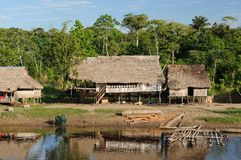 Peruvian Amazonas, Indian settlement Royalty Free Stock Photo