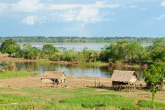 Peruvian Amazonas. Typical indian tribes settlement in the Peruvian Amazonas Stock Images