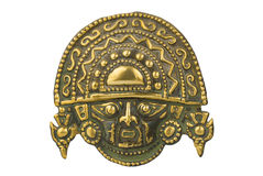 Peruvian ancient ceremonial mask isolated on white. Background royalty free stock image