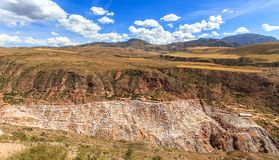 Peruvian andes landscape with salt mines and basins of Salineras. Maras. Peru Royalty Free Stock Images