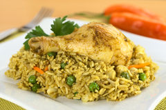 Peruvian Arroz con Pollo (Rice with Chicken). Peruvian dish called Arroz con Pollo (Rice with Chicken), which is made of rice, chicken parts, peas, corn, aji ( Stock Images