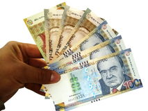 Peruvian banknotes, payment stock photos