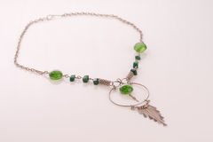 Peruvian Beaded Necklace. With green murano beads and alpaca silver stock photo