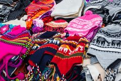 Peruvian caps on the market. Beautiful peruvian caps on the market royalty free stock photo