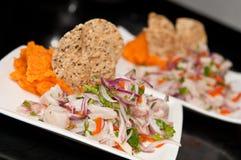 Peruvian Ceviche. A delicious peruvian dish made of raw fish royalty free stock photo