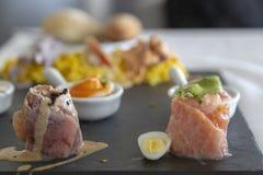 PERUVIAN CEVICHE SEBICHE, Peruvian dish, detail shot, Lima , Peru. Fish, cuisine, food, meal, onion, american, seafood, red, traditional, dinner, cebiche royalty free stock photo