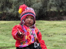 Peruvian child near Cuzco. Wearing traditional clothing Stock Image