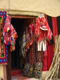 Peruvian Clothes for Sale. Shop selling peruvian artifacts and sticks Royalty Free Stock Photography