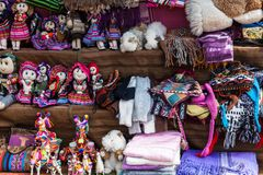 Peruvian clothes and toys. On the market royalty free stock photo