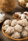 Peruvian cocadas, a traditional coconut dessert sold usually on Stock Photo