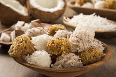 Peruvian cocadas, a traditional coconut dessert sold usually on Stock Image