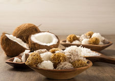 Peruvian cocadas, a traditional coconut dessert sold usually on Royalty Free Stock Photography