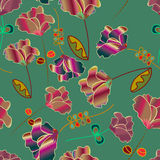 Peruvian colorful flowers seamless pattern Stock Photography