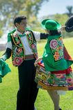 Peruvian couple dancing Huayno dance. Peruvian couple dancing Huayno, a traditional musical genre typical of the Andean region of Peru, Bolivia, northern stock photo