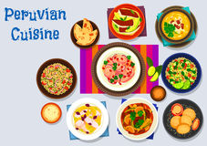 Peruvian cuisine icon with seafood dishes Stock Photos